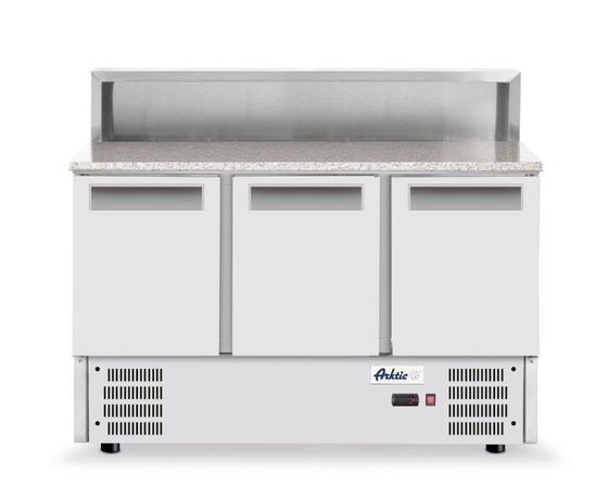 Stół chłodniczy sałatkowy 3- drzwiowy z nadstawą i blatem granitowym  - kod 236215