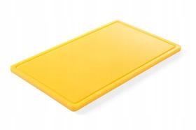 Deska do krojenia HACCP - GN 1/1 żółta do drobiu surowego (gładka i z wycięciem) - kod 826058