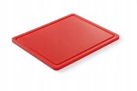 Deska do krojenia HACCP - GN 1/2 czerwona do surowego mięsa (gładka i z wycięciem) - kod 826119