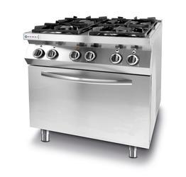 Hendi Kuchnia gazowa 4-palnikowa Kitchen Line z konwekcyjnym piekarnikiem elektrycznym GN 1/1 - kod 225882