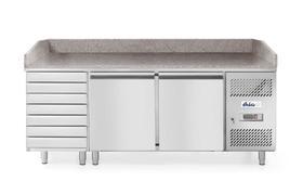 Stół chłodniczy 2- drzwiowy z 7 szufladami  i blatem granitowym  - kod 232842