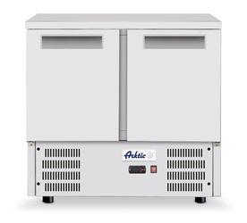 Stół chłodniczy 2 drzwiowy z blatem roboczym ze stali  i agregatem dolnym 247 l - kod 236130