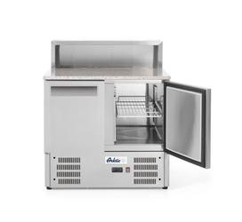 Stół chłodniczy sałatkowy 2- drzwiowy z nadstawą i blatem granitowym  - kod 236208