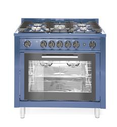 Kuchnia gazowa 5-palnikowa z konwekcyjnym piekarnikiem elektrycznym i z grillem, niebieska - kod 229194