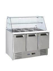 Stół chłodniczy sałatkowy 3- drzwiowy z nadstawą szklaną - kod 236192